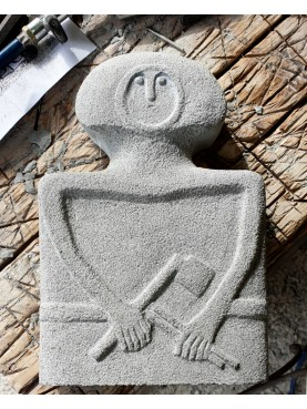 Prehistoric statue reproduction from Lunigiana Belt and Axe