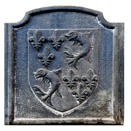 Mantova cast iron slab for fireplace with noble emblem