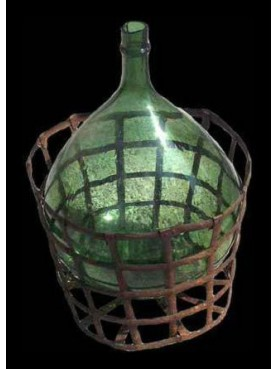 Wine bottle with iron basket