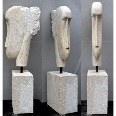 Authentic Modigliani false stone head