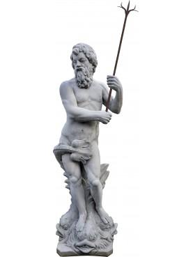 Statua di Nettuno in cemento altezza 184 cm con fiocina antica