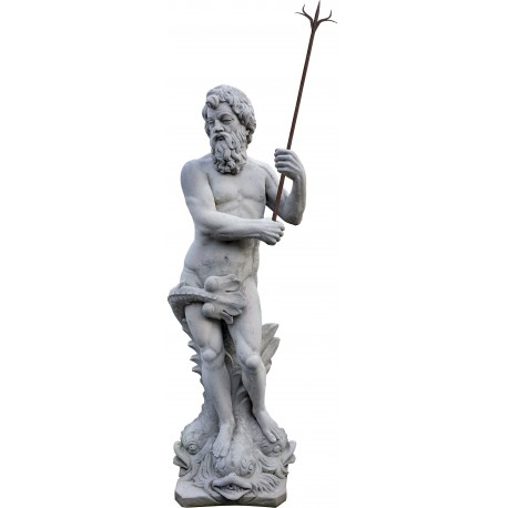 Concrete statue of Neptune with ancient forged iron harpoon