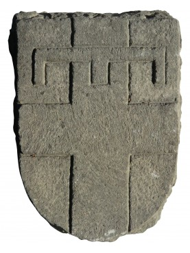 Stone coat of arms Genoa cross with ancient key