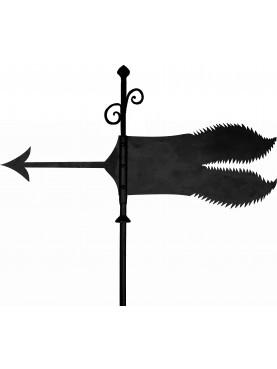 Serrated wind vane flag - forged iron