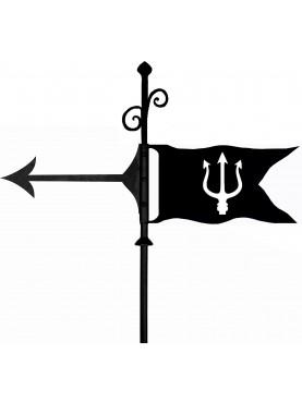 Banderuola segnavento con tridente di Nettuno in ferro