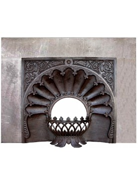 Cast iron fireplace with sand-stone frame