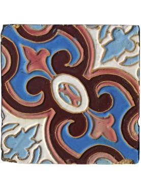 Antica piastrella di maiolica di epoca Liberty