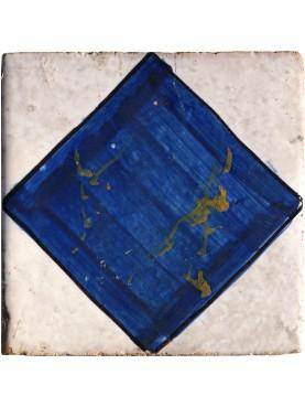 Piastrella antica di maiolica - blu cobalto e bianco ossido d'allumio