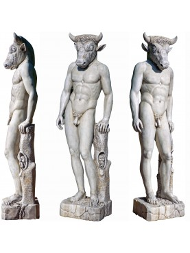 Minotauro del Labirinto di Cnosso in marmo bianco di Carrara