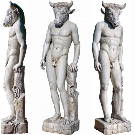 Minotaur of the Labyrinth of Knossos in white Carrara marble