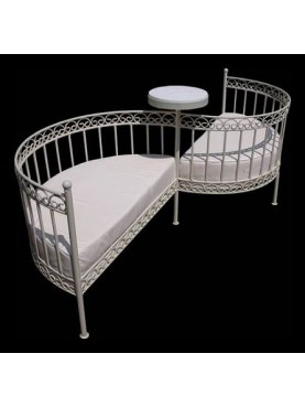 Vis a Vis Settee forged iron bench