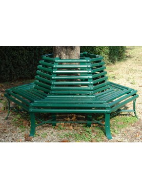 Large hexagonal tree bench - forgediron