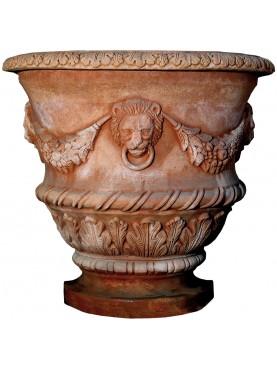 Vaso ornato da parete in terracotta Impruneta
