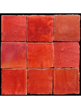 Hand-made Morocco Tile red
