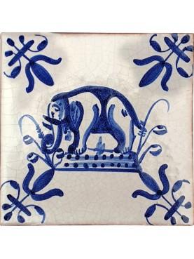 Piastrella in maiolica Delft elefante