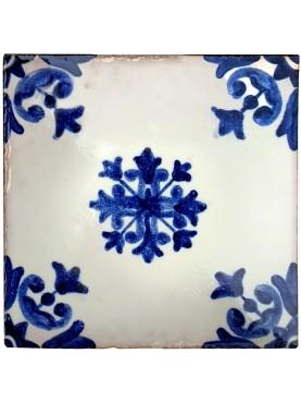 Blue majolica tile 10 x 10 cm our production