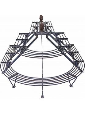 Portavasi piramidale in ferro battuto a tre facce