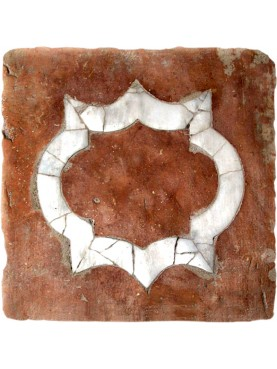 Ancient Tuscan square brick inlaid with white Carrara marble