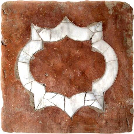 Quadrone toscano antico intarsiato con marmo bianco di Carrara