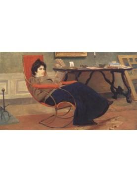 Donna in lettura di Eugenio Cecconi, 1890 circa, Olio su tela, 60x90 cm