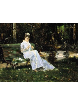 Portrait of Adelaide Banti in the garden, 1875, by Cristiano Banti.
