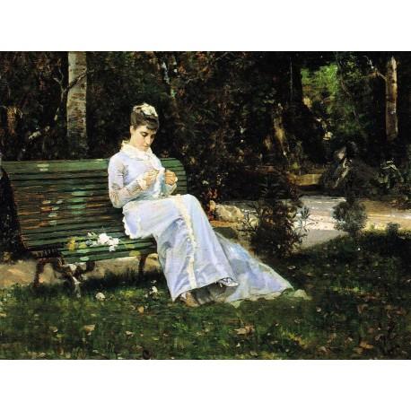 Ritratto di Adelaide Banti in giardino, 1875, di Cristiano Banti.
