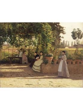 Dipinto di Silvestro Lega, Un dopo pranzo [Il pergolato] del 1868, conservato presso la Pinacoteca di Brera, Milano.