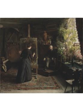 "Quadro di Jeanna Bauck ""L'artista danese Bertha Wegmann dipinge un ritratto"", tardo 1870"