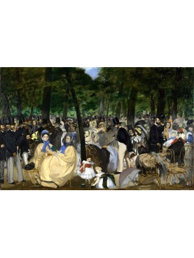 "Edouard Manet in the famous ""Music in the Tuileries"", painted in oil on canvas (76.2 × 118.1 cm), made in 1862 and kept at the"