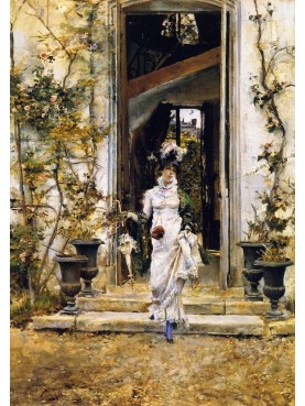 Painting by Giovanni Boldini, Berthe goes out for the walk, 1874.