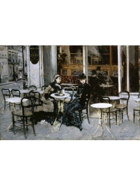 """Quadro di Giovanni Boldini (Ferrara 1842 - Parigi 1931) """"Conversazione al Caffè"""" del 1879 olio su tavola, 28x41cm."""