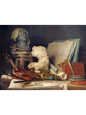 The symbols of painting and sculpture, 1769, oil on canvas by the French painter Anne Vallayer-Coster