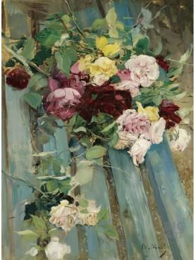 Giovanni Boldini [1842-1931], Natura morta con rose Olio su tavola 73 x 54,5 cm