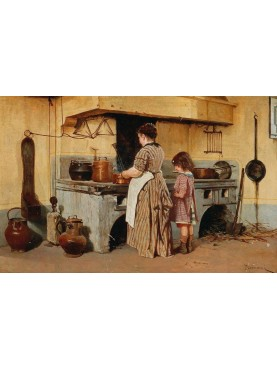 """Quadro di Odoardo Borrani, """"Alla stufa"""" dipinto tra il 1870 e il 1885"""