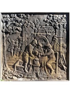 Lastra in ghisa per camino antica originale festa paesana