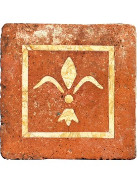 Ancient tuscan bricks inlaid with royal yellow or yellow siena marble