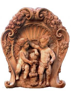 Terracotta baroque Fountain front of fountain