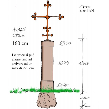 Milestone or Mile marker garden road stone cippus with cross