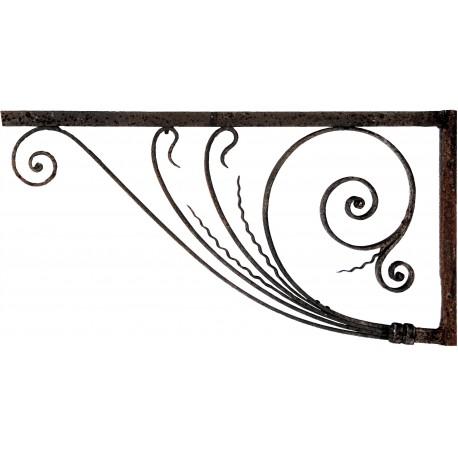 Coppia mensole 106cm antiche in ferro battuto
