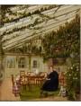 Eduard Gaertner (German, Berlin 1801–1877 Zechlin) Mr. Westfal's family in the Conservatory 1836, oil on canvas.