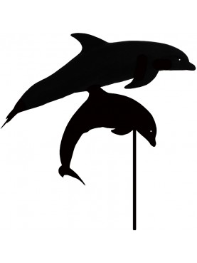 Pair of Dolphins jumping - iron weathervane
