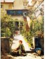 Filippo Carcano, Cortile a giardino con figure, effetto di sole, noto anche come La piccola fioraia, 1862.