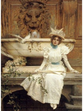 Vittorio Matteo Corcos, In attesa accanto alla fontana (Waiting by the Fountain), 1896, private collection, oil on canvas.
