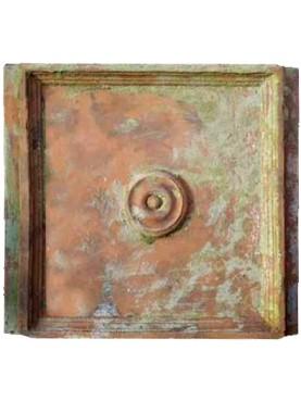 Formella mamillata in terracotta - soffitto a cassettone