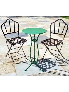 Due sedie in ferro Castellini più un piccolo tavolo Lucchese Ø 45 cm