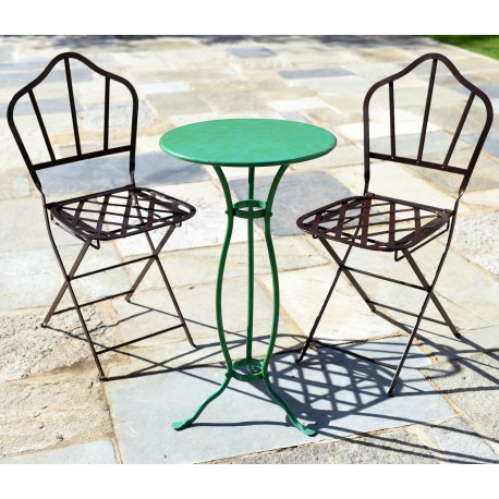Two Castellini iron chairs plus a small Lucchese table Ø 45 cm