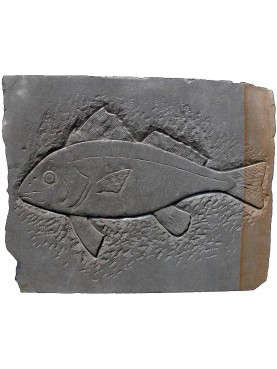 SANDSTONE BASRELIEF FISH SCULPTURE