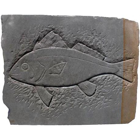 SANDSTONE BASRELIEF FISH SCULPTURE