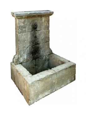 French Stone fountain - limestone h 156 cm