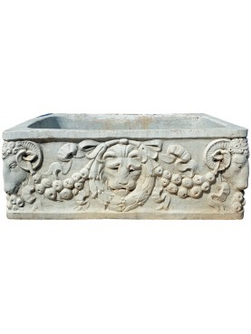Carrara white marble bowl carved with lion and rams